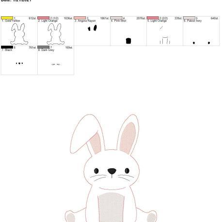 Bean Stitch Bunny Applique 8×12