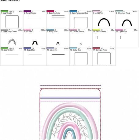 Boho Rainbow zipper bag 4×4