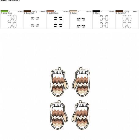 Mitten Earrings 4×4 grouped