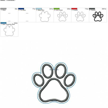 Paw Print Applique Book Band 4×4