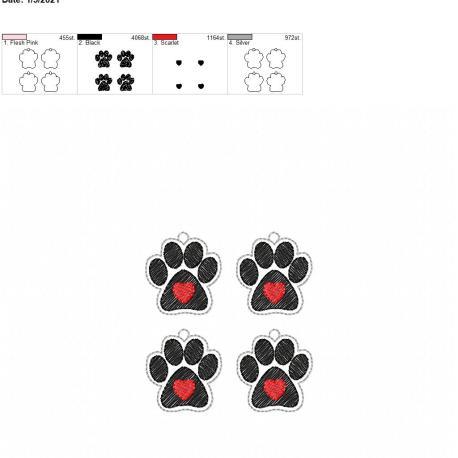 Paw heart earrings 1.5 inch 4×4 grouped
