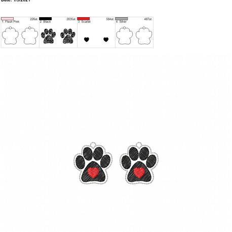 Paw heart earrings 1.5 inch