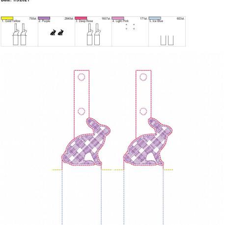 Plaid Bunny Lip Balm holder 5×7 grouped