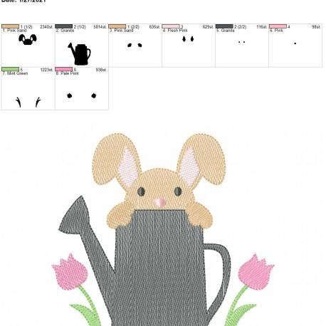 Watering Can Bunny 6×10