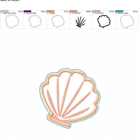 Applique seashell coaster 4×4