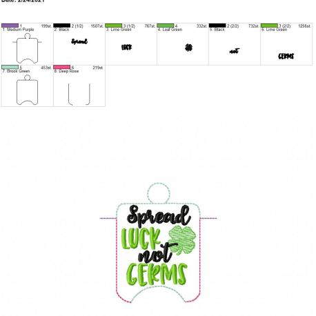 Spread Luck Not Germs sanitizer holder eyelet 4×4