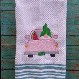 Gnome Watermelon Truck Sketch – 2 sizes- Digital Embroidery Design