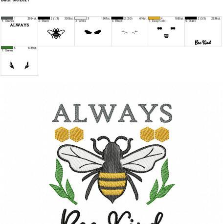Always Bee Kind 5×7