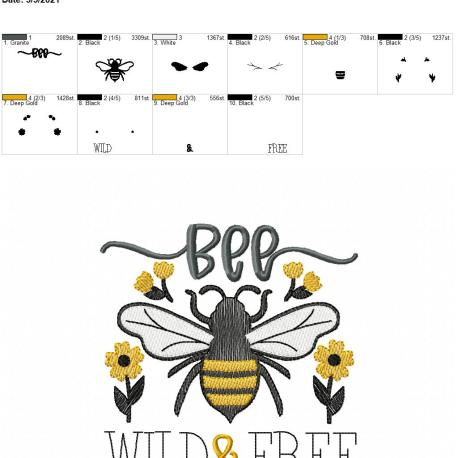 Bee Wild and Free 5×7