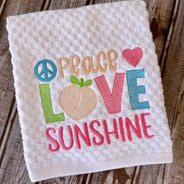 Peace Love Sunshine – 3 sizes- Digital Embroidery Design