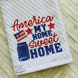 America Home Sweet Home – 4 sizes- Digital Embroidery Design