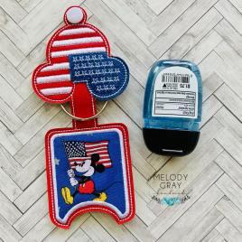Patriotic Mouse Applique Fold Over Sanitizer Holder 5×7- DIGITAL Embroidery DESIGN