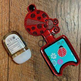 Ladybug Applique Fold Over Sanitizer Holder 5×7- DIGITAL Embroidery DESIGN