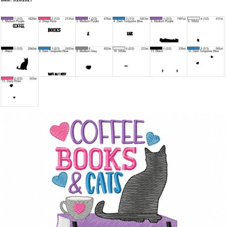 Coffee books cats 5×7