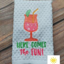 Here Comes the Fun – 4 sizes- Digital Embroidery Design