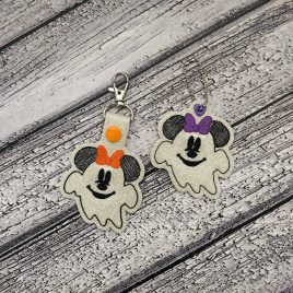 Miss Ghost Mouse Fobs – DIGITAL Embroidery DESIGN