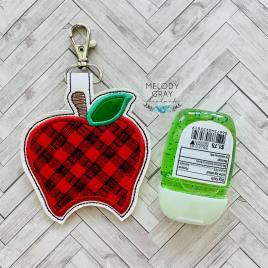 Plaid Apple Applique Fold Over Sanitizer Holder 5×7- DIGITAL Embroidery DESIGN