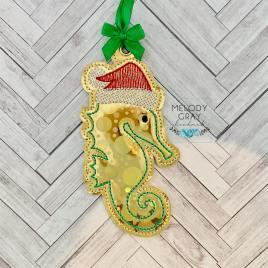 Santa Seahorse Ornament – Digital Embroidery Design