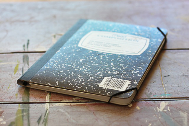 Turn a composition notebook into an iPad cover. DIY tutorial via lilblueboo.com