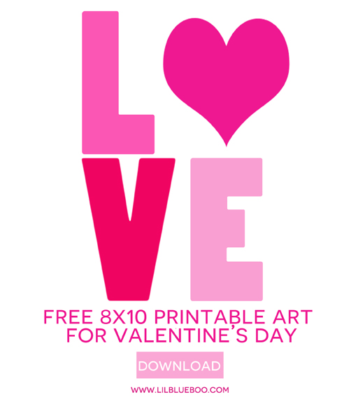 20 Free Valentine Printable Signs via Mandy's Party Printables via Ashley Hackshaw and Lil Blue Boo