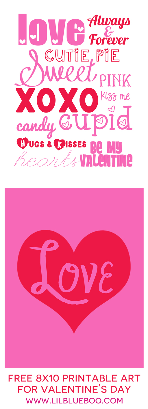 20 Free Valentine Printable Signs Via Mandyu0027s Party Printables From Lil  Blue Boo