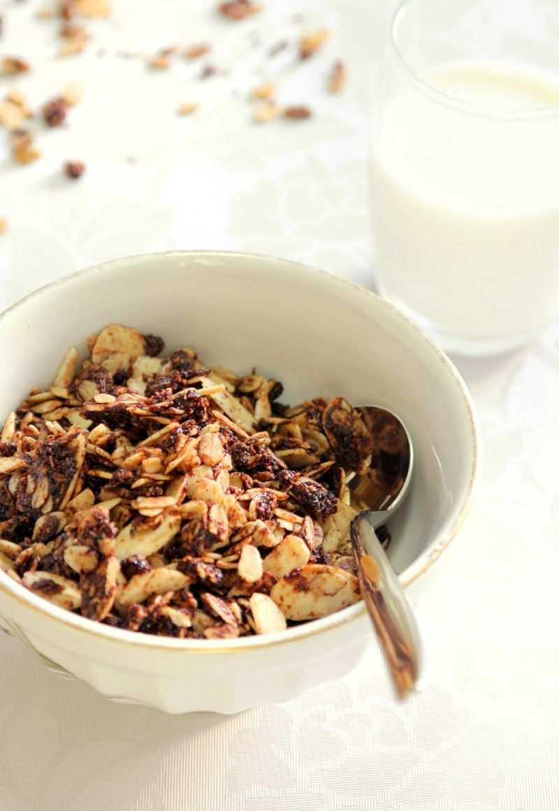 Chocolate Granola with Coconut and Almonds