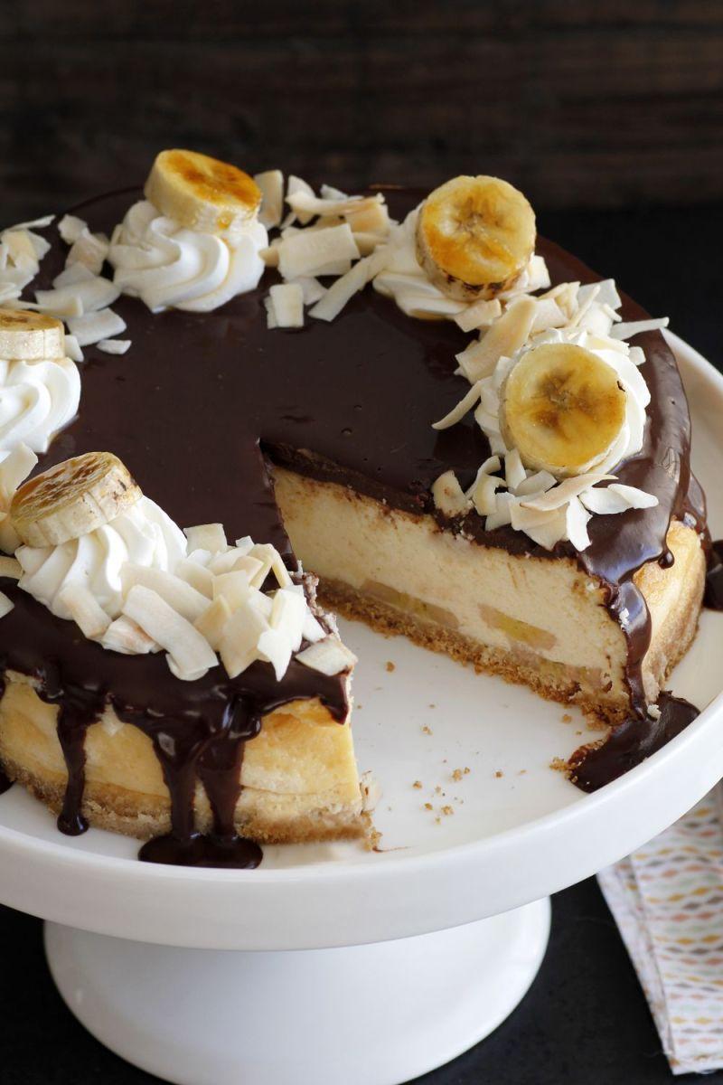 Chocolate and Banana Coconut Cheesecake