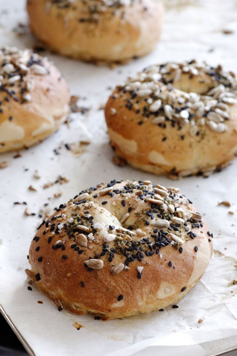 Soft Bagel with Seeds and Sea Salt