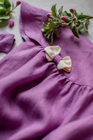 naturalne-sukienki-dla-dziewczynek-rozowa-wrzosowa-z-kokarda-na-wakacje-rezent-babyshower-polskiej-marki-lilen