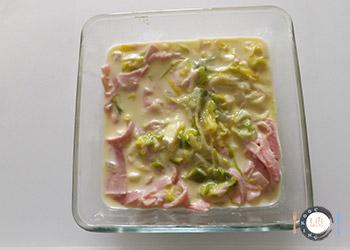 préparation flan poireau jambon camembert