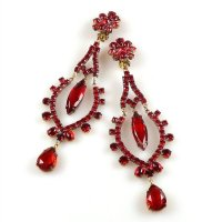 Extra Long Dangling Earrings Clips-on ~ Ruby Red : LILIEN ...