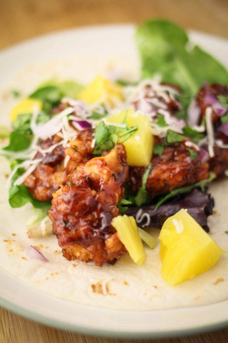 Hawaiian BBQ Fried Chicken Tacos