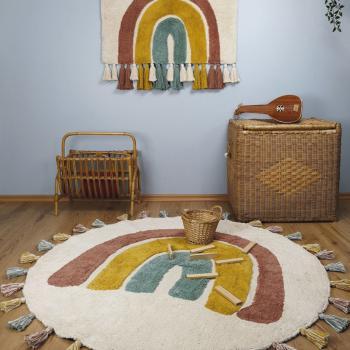 tapis bebe rond coton lavable arc en ciel rainbow de nattiot