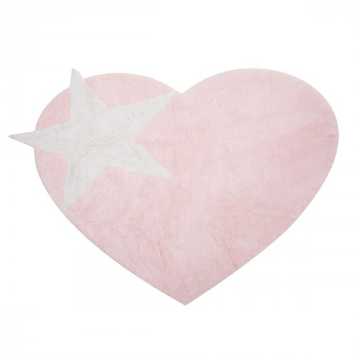 tapis en forme de coeur rose