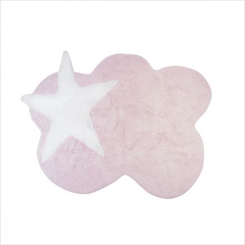 tapis enfant nuage rose et etoile blanche