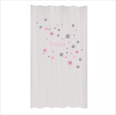 rideau poudre fleurs rose et gris