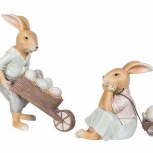 Kaninpar med kärra o vagn