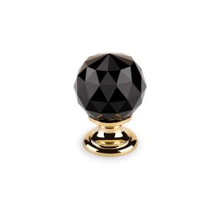 Crystal Handtag för dörr, skåp mm – Svart Diamant/Guld