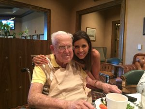 Celebrating Dr. McKey's 99th birthday at The Country Club of Orlando. Still loves his fried foods and me.