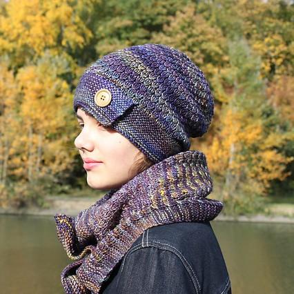 Modele de tricot de bonnet et col Olmo de Lilofil