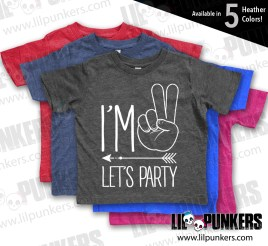 Im 2 Lets Party Hipster Arrow Vintage Heather 2nd Birthday Shirt