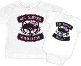 """aae8da629 Matching """"Lil Kitty"""" Rockabilly Cat Girls T-shirt Set"""