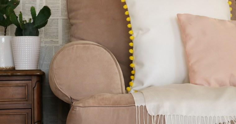 Pom Pom Leather Throw Pillow Diy