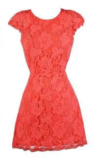 Coral Lace Cocktail Dresses_Cocktail Dresses_dressesss