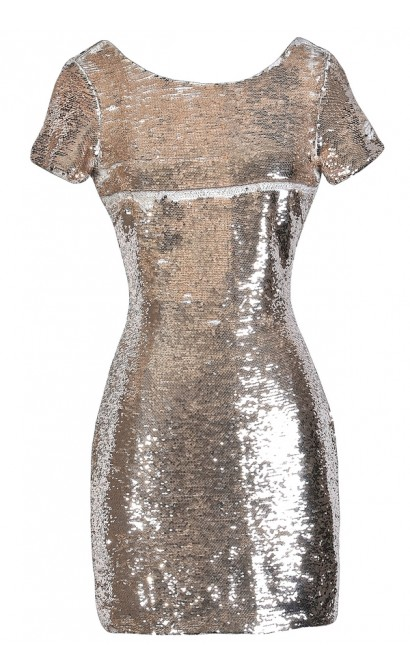 Gold Sequin Party Dress, Cute New Year's Eve Dress, Gold
