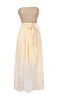 Cream and Gold Sequin High Low Dress, Cute Party Dress ...