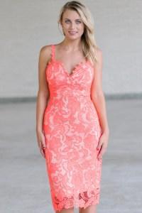 Coral Lace Pencil Dress, Cute Coral Dress, Coral Lace ...