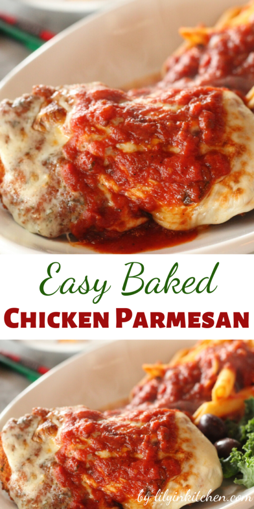 Baked chicken parmesan is an a dish that can be made any night of the week. Crispy chicken cutlets are topped with marinara sauce and cheese.