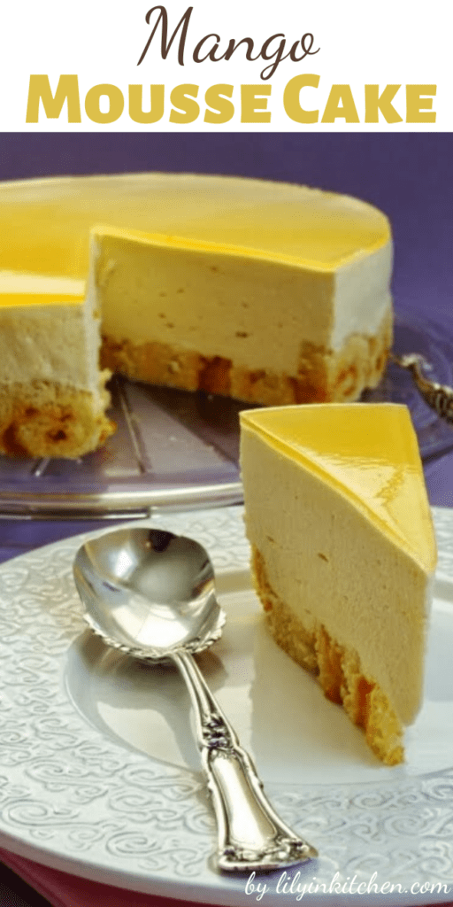 If you are not going to be going on a tropical vacation, this Mango Mousse Cake is the next best thing! If you are going on a tropical vacation, keep it going with this cake.