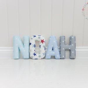 Fabric Letter Name N - Dotty Sky, O - Funky Star Red, A - Dotty Powder Blue, H - Dotty Smokey Grey